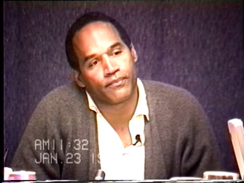 oj simpson's civil trial deposition 1131 am 1/23/96 questions about the medical examination and photos taken of oj after murders - armi video stock e b–roll