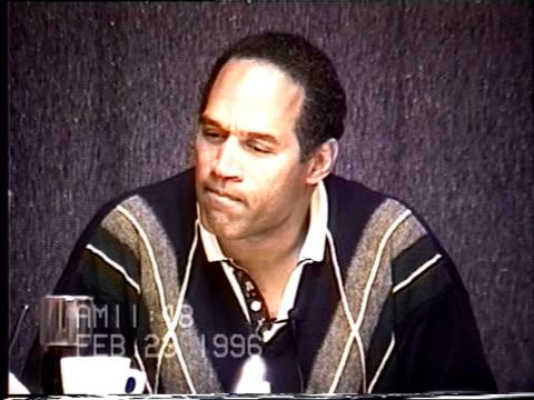 OJ Simpson's civil trial deposition 1147AM 2/23/96 Questions concerning OJ's chronic arthritis