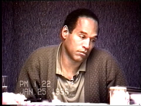 simpson's civil trial deposition 1:22pm 1/25/96 - legal questions about o.j.'s criminal attorney, johnnie cochran - ジョニー コクラン点の映像素材/bロール