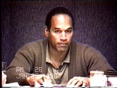 simpson's civil trial deposition 1:24pm 1/25/96 - questions about o.j.'s cuts and a back and forth between the lawyers about what o.j. has to answer - ジョニー コクラン点の映像素材/bロール