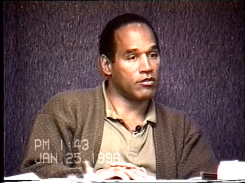 simpson's civil trial deposition 1:41pm 1/25/96 - questions about o.j. and nicole's divorce proceedings and the allegations of physical abuse - ジョニー コクラン点の映像素材/bロール