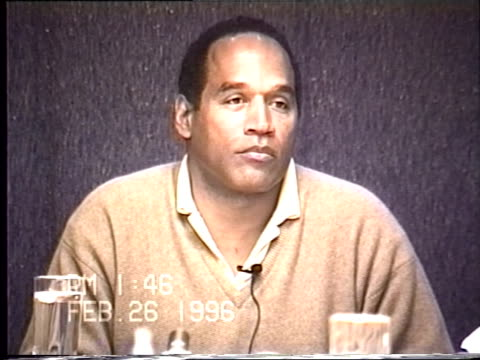 OJ Simpson's civil trial deposition 145PM 2/26/96 Questions about the details of OJ cleaning up the broken glass in his Chicago hotel room and the...