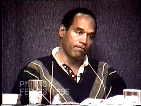 OJ Simpson's civil trial deposition 151PM 2/23/96 Questions about OJ and Nicole having disagreements over finances