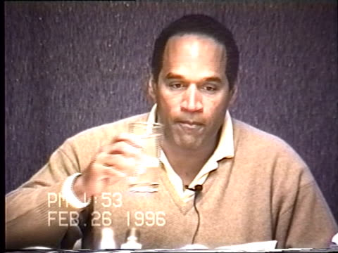 OJ Simpson's civil trial deposition 151PM 2/26/96 Questions about the details of OJ cleaning up the broken glass in his Chicago hotel room and the...