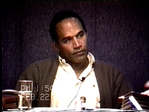 stockvideo's en b-roll-footage met oj simpson's civil trial deposition 153pm 2/22/96 questions about if nicole was afraid of oj including the 1993 911 call and nicole's diaries - dagboek