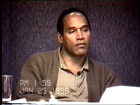 simpson's civil trial deposition 1:57pm 1/25/96 - petrocelli grills o.j. on nicole's list of physical abuse - o・j・シンプソン点の映像素材/bロール