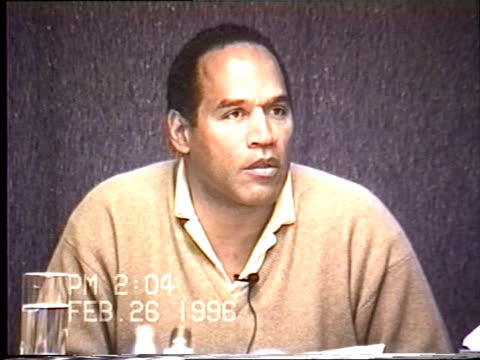 OJ Simpson's civil trial deposition 203PM 2/26/96 Questions about what Nicole's friends and family thought about OJ as the murderer and how much OJ...