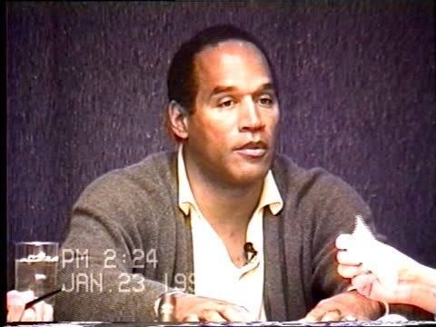 simpson's civil trial deposition 2:22pm 1/23/96 - questions about and descriptions of o.j.'s golf bag, and clubs, and shoes - o.j. simpson stock videos & royalty-free footage