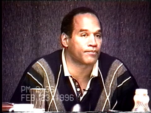 oj simpson's civil trial deposition 235pm 2/23/96 questions about the blood found in the bronco and rockingham - bucking bronco stock videos & royalty-free footage