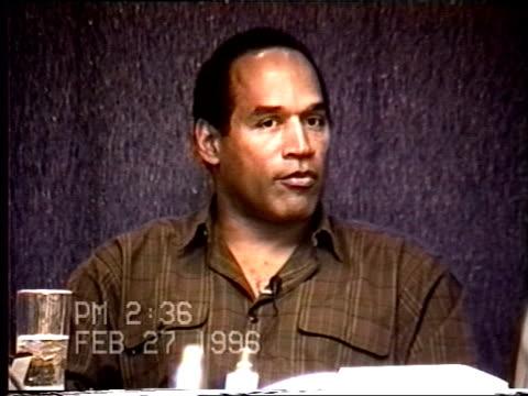 vidéos et rushes de oj simpson's civil trial deposition 235pm 2/27/96 questions about the final breakup of oj and nicole using the lapd interview transcript - procès
