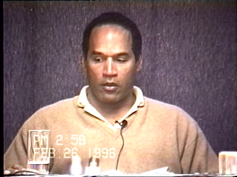 vidéos et rushes de simpson's civil trial deposition 2:56pm 2/26/96 - questions about whether o.j. could have possibly blacked out or lost his memory for a period of time - blacked