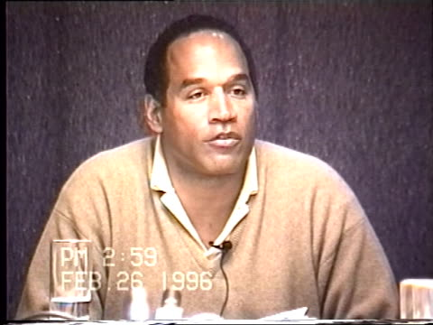 OJ Simpson's civil trial deposition 258PM 2/26/96 Questions about OJ's activities on the night of the 13th and day of the 14th while with Robert...