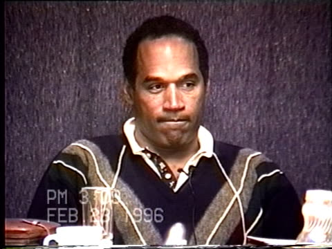 vidéos et rushes de oj simpson's civil trial deposition 308pm 2/23/96 questions about the last call oj made to nicole his behavior on the plane what his children may... - procès