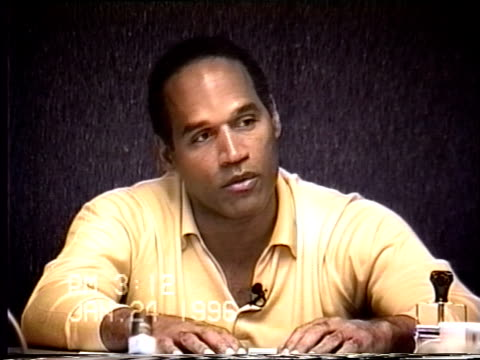 simpson's civil trial deposition 3:10 pm 1/24/96 - questions about o.j.'s day prior to the murders - o・j・シンプソン点の映像素材/bロール