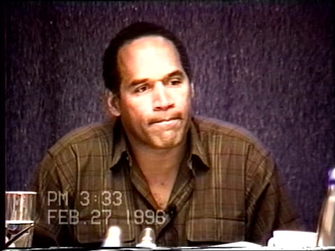 OJ Simpson's civil trial deposition 332PM 2/27/96 OJ is asked a succession of questions about the events surrounding the murders