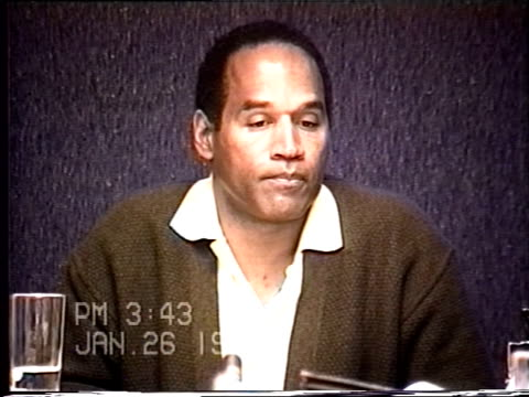oj simpson's civil trial deposition 342pm 1/26/96 oj is questioned about trying on the gloves in court - glove stock videos and b-roll footage