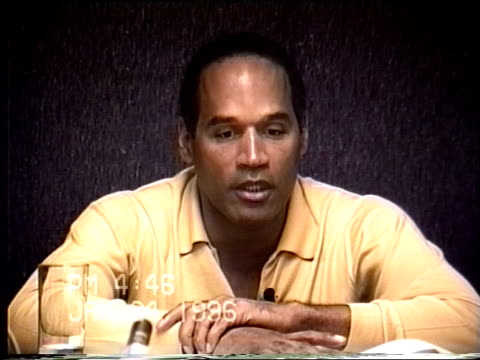 simpson's civil trial deposition 4:44pm 1/24/96 - details about the remainder of o.j.'s actions on the evening of the murders - o・j・シンプソン点の映像素材/bロール