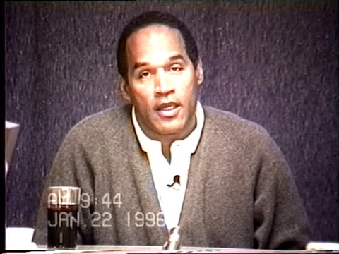simpson's civil trial deposition 9:44 am 1/22/96 - questions about o.j.'s statement to lapd - o・j・シンプソン点の映像素材/bロール