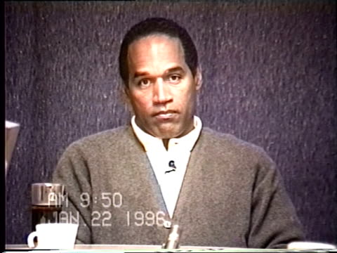 simpson's civil trial deposition 9:50 am 1/22/96 - questions about the notes o.j. took during his criminal trial - o・j・シンプソン点の映像素材/bロール