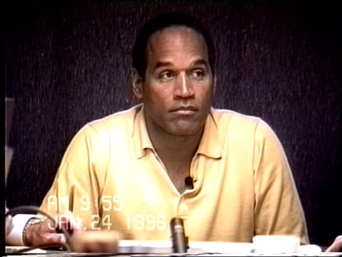 """simpson's civil trial deposition 9:54 am 1/24/96 - o.j. mixes up """"bronco"""" and """"bently"""" in yesterday's testimony - bucking stock videos & royalty-free footage"""