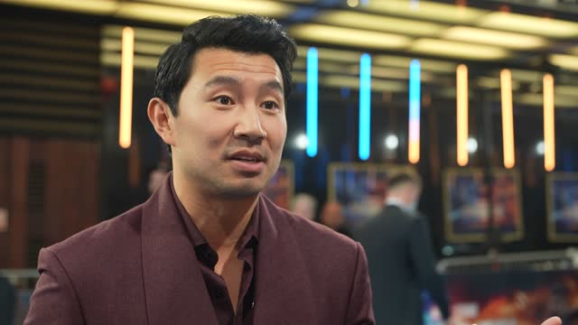 """simu liu on why """"shang-chi"""" stands on the shoulders of movie black panther at the """"shang-chi"""" premiere screening at the curzon mayfair on august 26,... - standing stock videos & royalty-free footage"""
