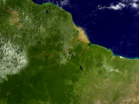 vídeos de stock, filmes e b-roll de t/l ws zi simulated zoom into amazon rain forest from earth orbit - mais zoom