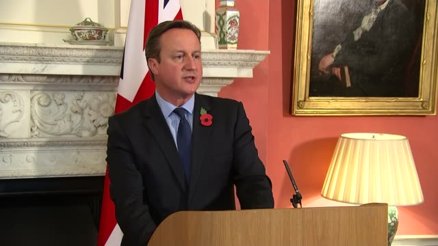 russia suspends flights as bomb suspicions grow england london downing street number 10 david cameron mp speaking at press conference - kogalymavia flug 9268 stock-videos und b-roll-filmmaterial
