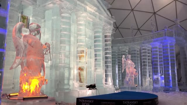 since 2013 ice sculptors have flocked to the slovak tatra mountain hamlet of hrebienok every winter to build a tatra ice temple or scaled down... - ice crystal stock videos and b-roll footage
