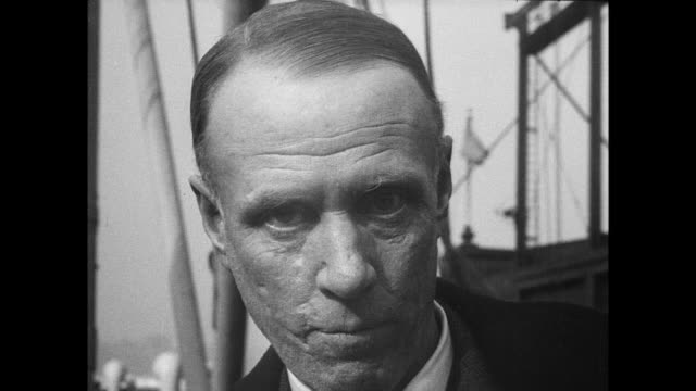 sinclair lewis stands with second wife dorothy thompson in front of a ship on his way to oslo to receive nobel prize in literature / cu lewis with... - nobel prize in literature stock videos & royalty-free footage