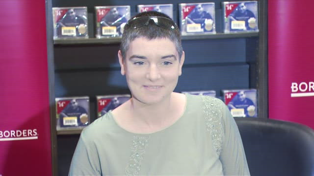 sinead o'connor at the instore appearance by sinead o'connor signing her new religiousthemed 2disc album 'theology' at borders books music at the... - theology stock videos and b-roll footage