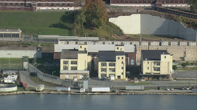 AERIAL Sing Sing Prison along the banks of the Hudson River / New York, United States