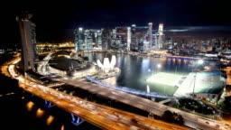 Singapore Aerial Panorama at Night