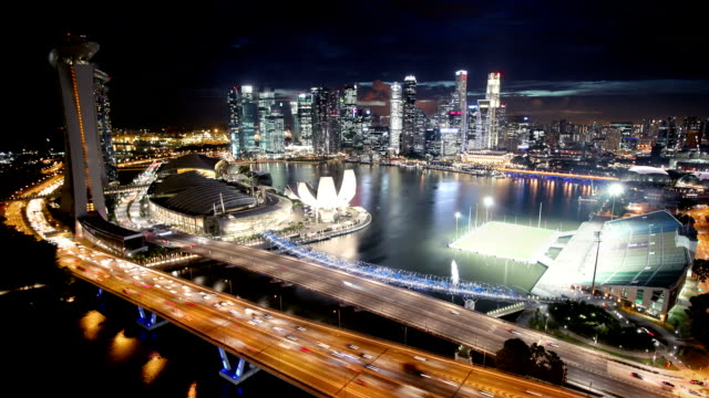 singapore aerial panorama at night - singapore stock videos & royalty-free footage