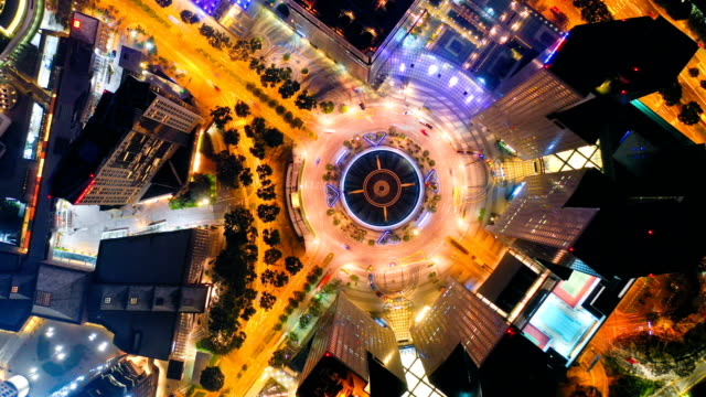 singapore aerial panorama view at night time-lapse at fountain of wealth roundabout - merlion fictional character stock videos and b-roll footage
