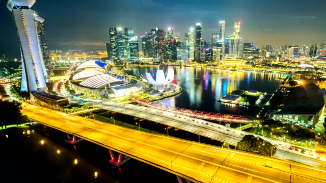 singapore aerial panorama view at night time-lapse or hyperlapse - singapore stock videos & royalty-free footage