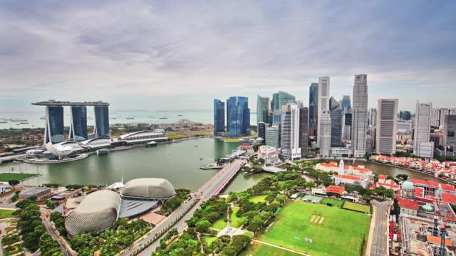 singapore aerial skyline - marina bay singapore stock videos and b-roll footage