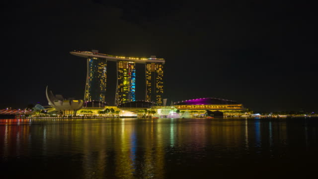 singapore at night - marina bay sands stock videos and b-roll footage