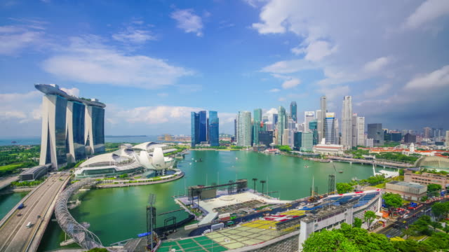 singapore bay area skyline - singapore stock videos & royalty-free footage