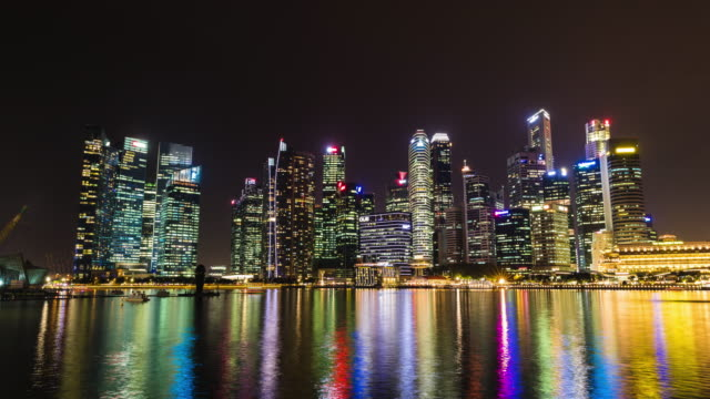 singapore by night - merlion fictional character stock videos and b-roll footage