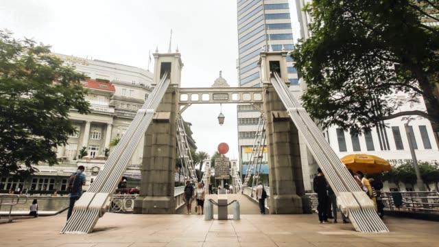singapore, cavenagh bridge - suspension bridge stock videos & royalty-free footage