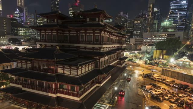 vidéos et rushes de chinatown de singapour dans la nuit - art antique