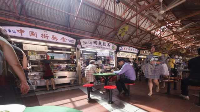 singapore, chinatown, maxwell food centre - market vendor stock videos & royalty-free footage