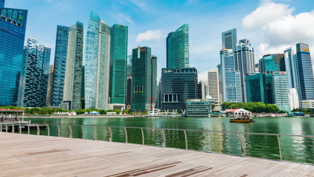 singapore city  of business district downtown - marina stock videos & royalty-free footage