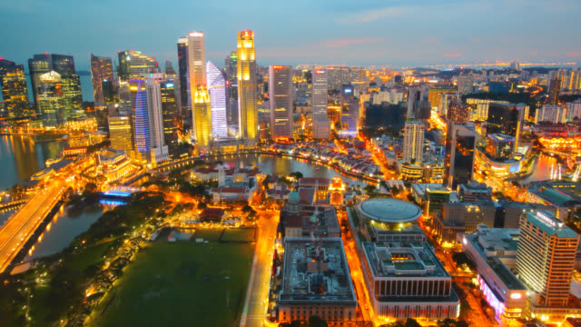 singapore city skyline at sunset - high dynamic range imaging stock videos and b-roll footage