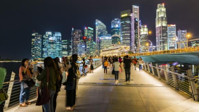 skyline von singapur der geschäft bezirk innenstadt - republik singapur stock-videos und b-roll-filmmaterial