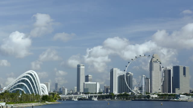 ws tl singapore city with singapore flyer and suntec city  - singapore flyer stock videos and b-roll footage