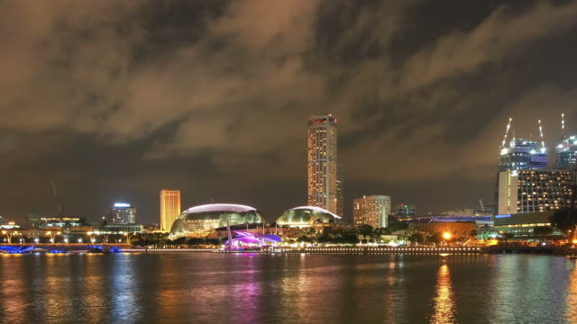 singapore cityscape at dusk - singapore river stock videos & royalty-free footage