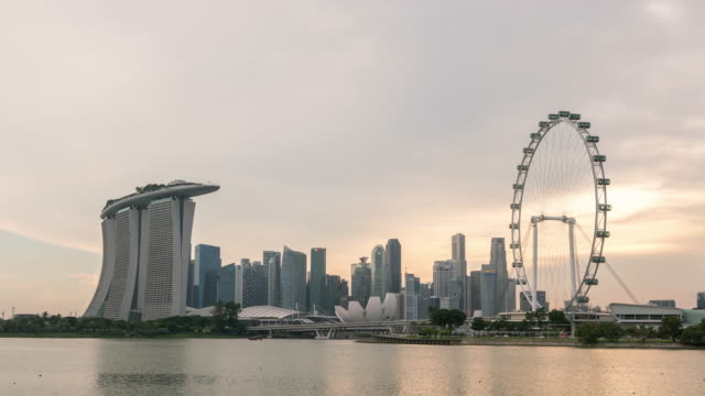 singapore cityscape sunset at dusk - singapore stock videos & royalty-free footage
