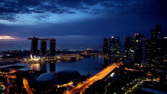 singapore dawn - marina bay singapore stock videos and b-roll footage