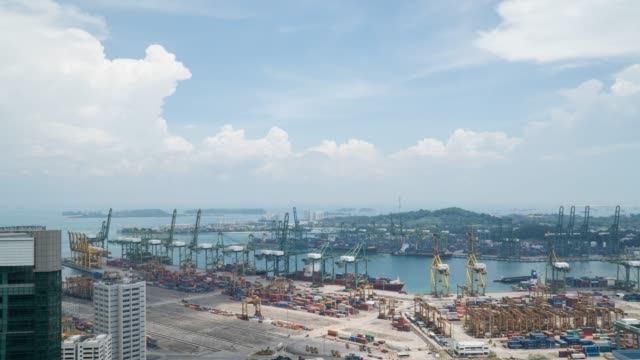 Singapore Docks and Shipping Containers working day